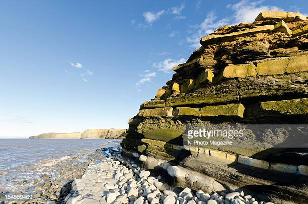 View along a section of cliffs and rocky coastline in south west England taken on March 19 2012