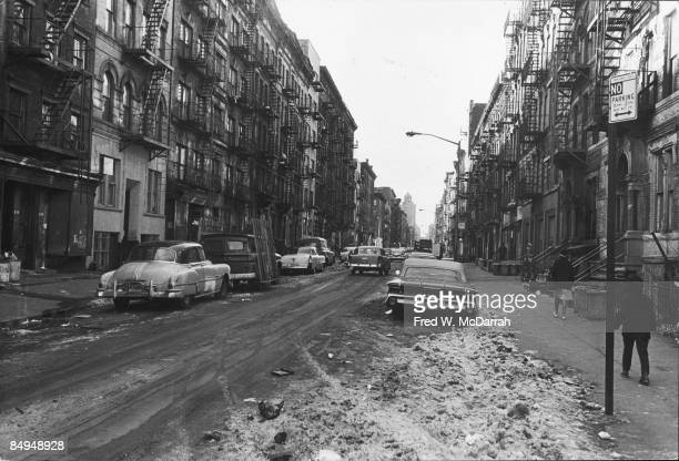 View along a snowy street on the Lower East Side of Manhattan New York New York February 6 1966