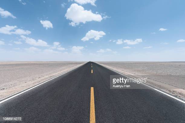view along a straight asphalted road through desert - strada foto e immagini stock