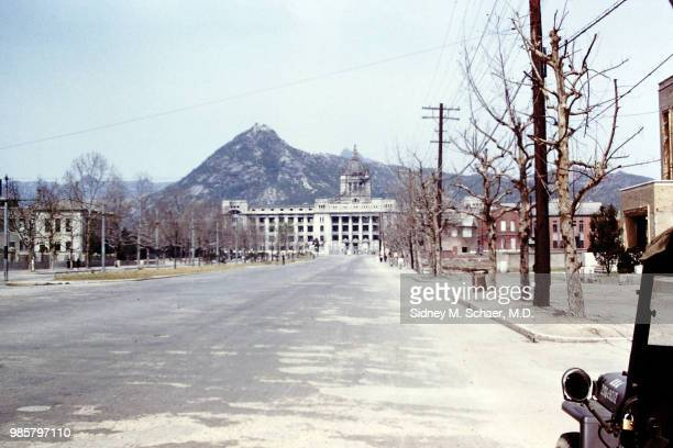 View along a wide boulevard of the GovernmentGeneral Building Seoul South Korea April 1952 Serving as the occupying Japanese government's...