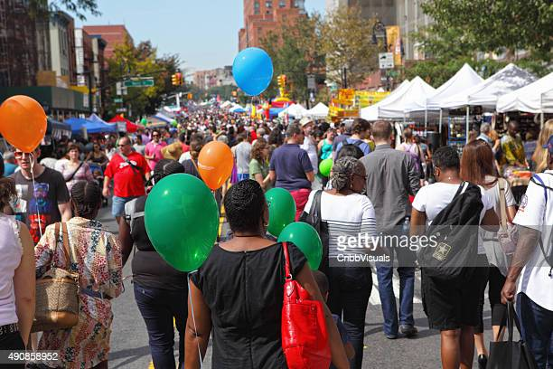 view along atlantic antic street fair in brooklyn - street fair stock photos and pictures