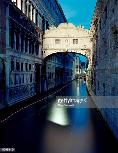 view along canal to bridge of sighs.  - yeowell stock photos and pictures
