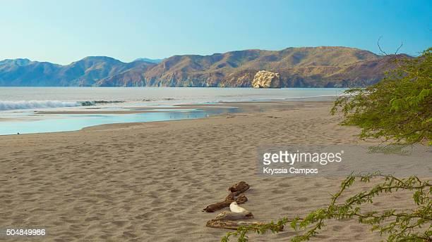 view along coastline: playa naranjo and witch's rock, guanacaste, costa rica - parque nacional de santa rosa fotografías e imágenes de stock