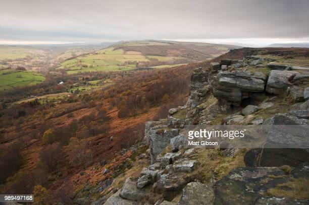 View along Curbar towards Baslow's Edge in background, in Peak District