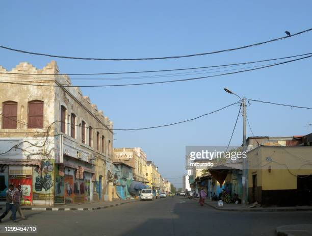 view along geneve street, djibouti city, djibouti - djibouti stock pictures, royalty-free photos & images