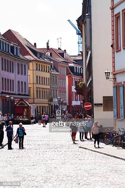 view along hauptstraße back to marktplatz - hauptstraße stock pictures, royalty-free photos & images