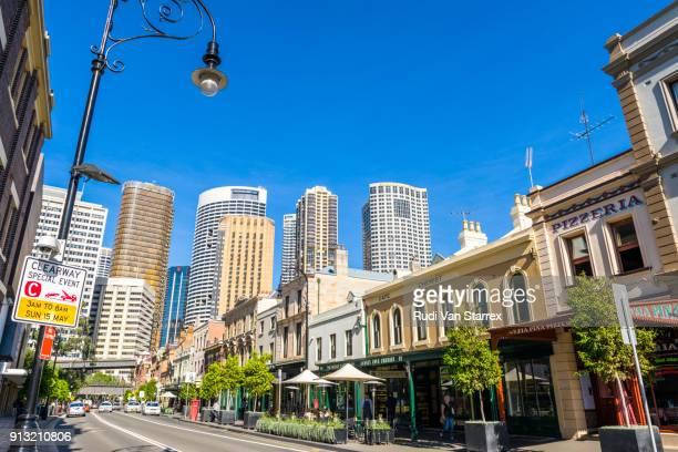 View along historic George Street, The Rocks, Sydney
