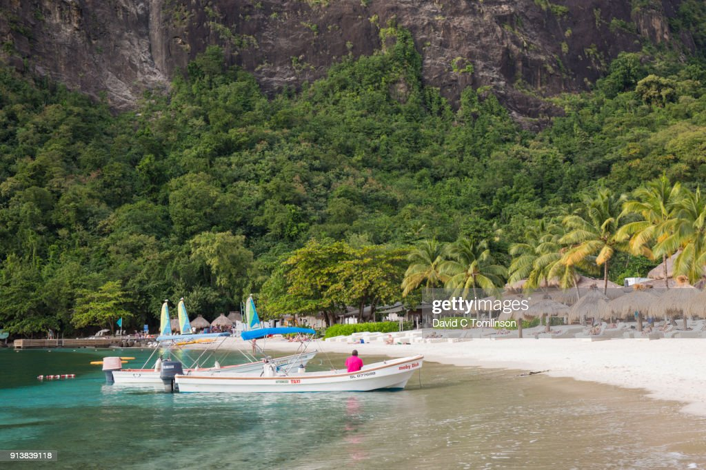 View Along Jalousie Beach Water Taxis Moored At The S Edge Soufriere St Lucia