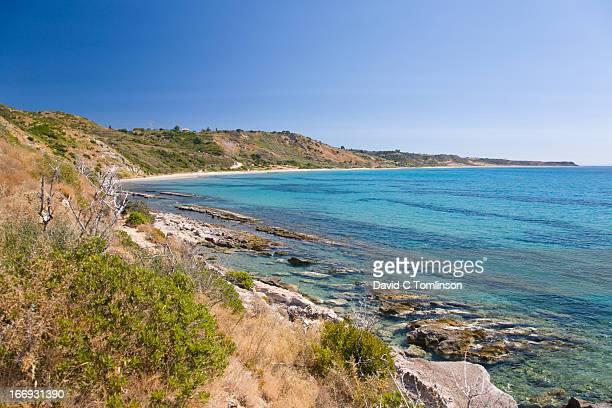 View along Kaminia beach, Skala, Kefalonia, Greece