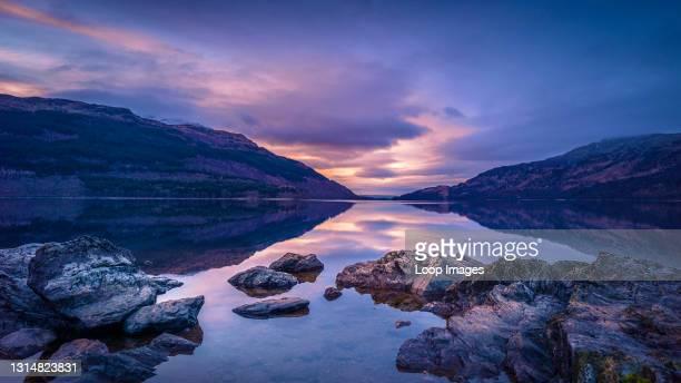 View along Loch Lomond at dawn.