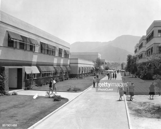 View along Minnie Mouse Boulevard on the Disney Studios lot Burbank California 1943 Among the visible buildings are the Inking and Painting...