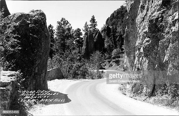 View along Needles Highway in the Black Hills South Dakota 1950