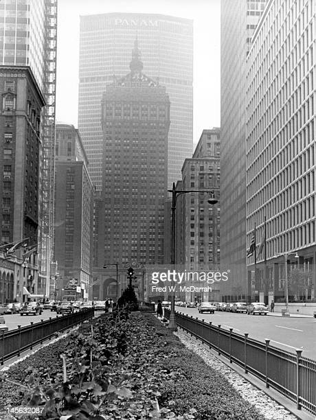 View along Park Avenue towards the New York Central Building and behind it the Pan Am Building New York New York May 17 1964