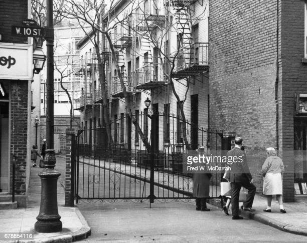 View along Patchin Place a gated culdesac in the Greenwich village neighborhood New York New York April 20 1962