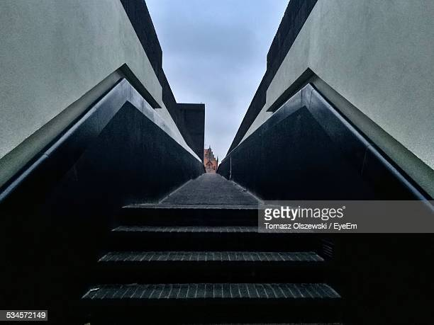 view along pedestrian walkway with steps - pomorskie province stock photos and pictures