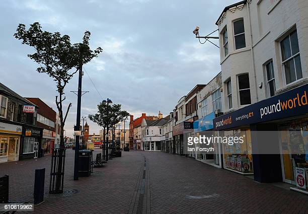 A view along Redcar high street on September 27 2016 in Redcar United Kingdom One year on since the SSI steel making plant at Redcar was mothballed...