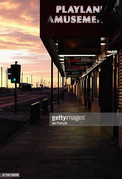 View along Redcar seafront on September 27 2016 in Redcar United Kingdom One year on since the SSI steel making plant at Redcar was mothballed the...