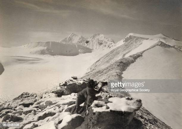 View along ridge to 21300 snow peak Summits of Chomo Lonzo and Makalu in centre China May 1921 Mount Everest Expedition 1921