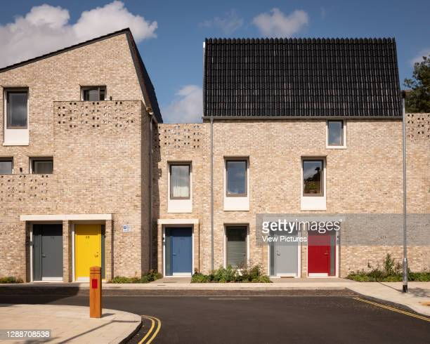 View along street. Goldsmith Street, Norwich, United Kingdom. Architect: Mikhail Riches, 2019.
