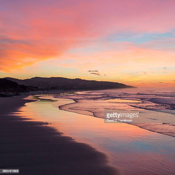 view along the beach at dawn, st clair, dunedin - dunedin new zealand stock pictures, royalty-free photos & images