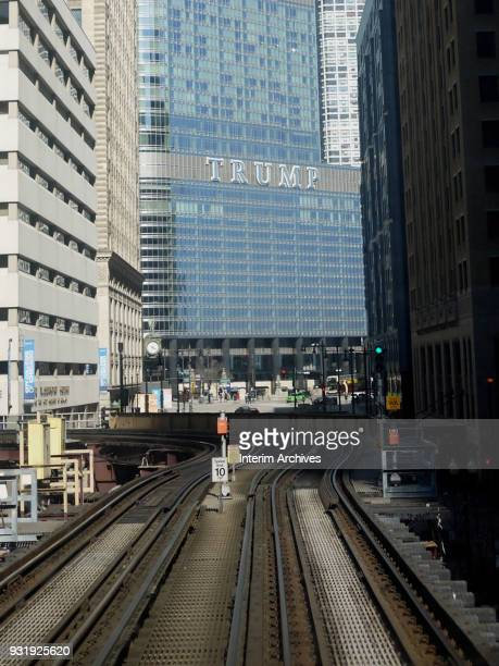 View along the Chicago Transit Authority's elevated Loop tracks of the Trump International Hotel and Tower Chicago Illinois March 4 2018
