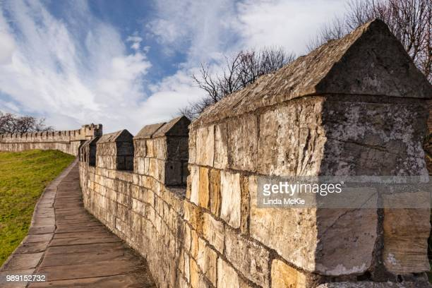 view along the city wall of york, north yorkshire, england, united kingdom - fortified wall stock photos and pictures