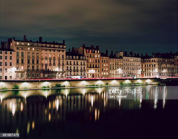 View along The Saone in Lyon at night