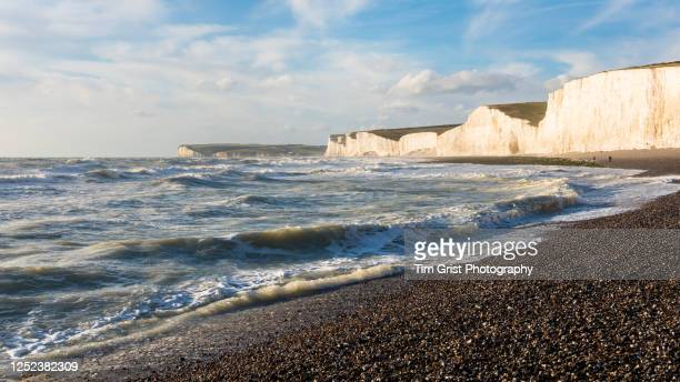 view along the seven sisters chalk cliffs and beach, east sussex, uk - stone material stock pictures, royalty-free photos & images
