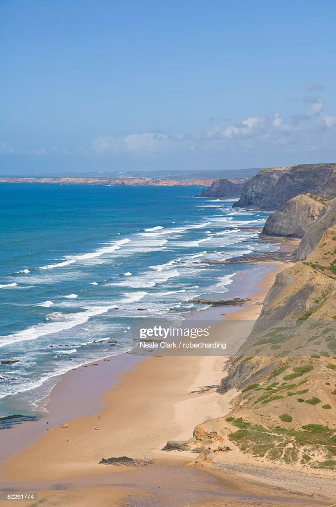 View along the south west coast of Portugal, Costa Vincentina, Praia do Castelejo and Cordama beaches from the clifftop above Vila do Bispo, Algarve, Portugal, Europe : Stock Photo