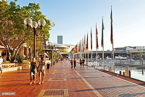 A view along the waterfront at Darling Harbour Sydney Australia