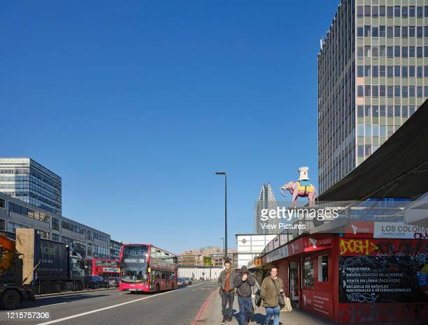 View along west facade with street Elephant and Castle Shopping Centre London United Kingdom Architect Boissevain and Osmond 1965