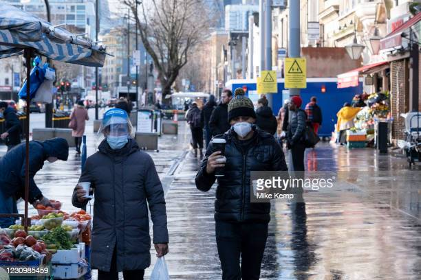 View along Whitechapel High Street as the national coronavirus lockdown three continues on 29th January 2021 in London, United Kingdom. Following the...
