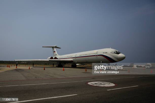 A view an an airplane with Russian flag during the delivery of medicines and disposable medical supplies to the government of Nicolas Maduro at...
