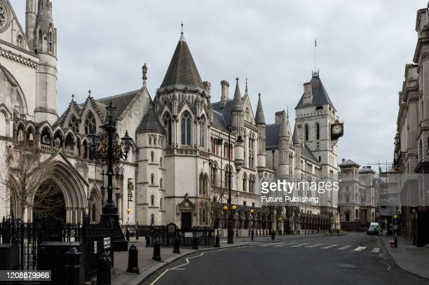 View an empty Strand outside Royal Courts of Justice in central London as the UK's nationwide lockdown continues for a second week in the fight...