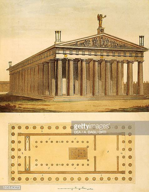 View and plan of the Parthenon at Athens from Ancient and Modern Costumes by Giulio Ferrario engraving 1827