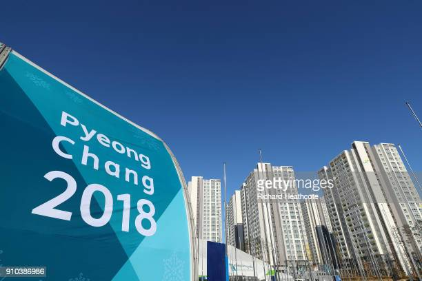 A view around the Gangneung Athletes Village ahead of the Pyeongchang 2018 Winter Olympics on January 25 2018 in Pyeongchanggun South Korea