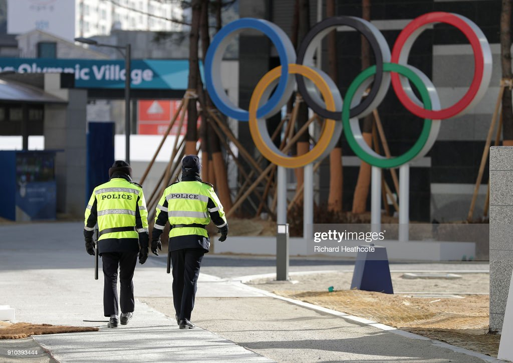 A view around the Gangneung Athletes Village ahead of the Pyeongchang 2018 Winter Olympics on January 25, 2018 in Pyeongchang-gun, South Korea.