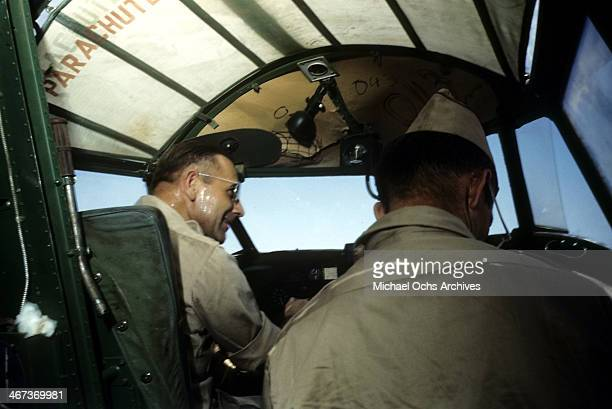 View as 376th Bombardment pilots sit in a B-24 Liberator at the U.S Air Force Base in Benghazi, Libya.
