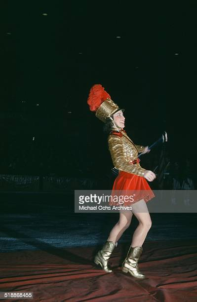 A view as a majorette performs during the StPaul Winter Carnival in StPaulMinnesota