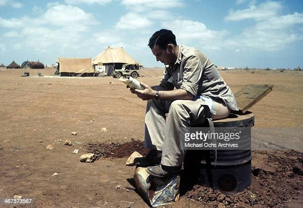 A view as a soldier sits at the latrine at the US Air Force base in Benghazi Libya