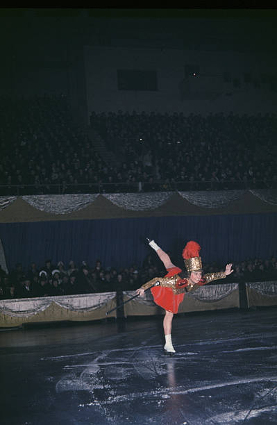 A view as a women performs on ice during the StPaul Winter Carnival in StPaulMinnesota