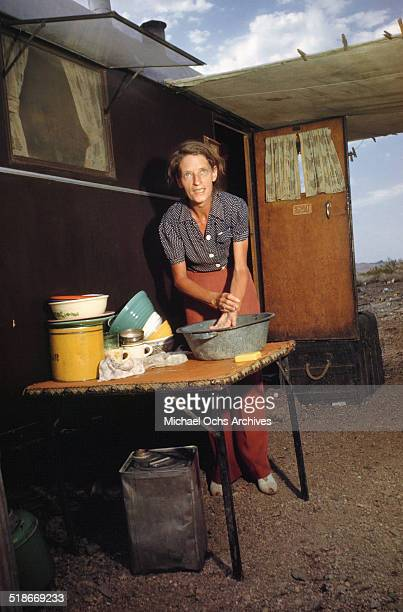 A view as a women washes up at Tent City Nevada housing for workers and thier families at the Basic Magnesium Incorporated a Magnesium Mining plant...