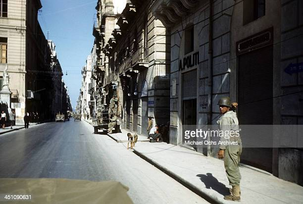 A view as Allied forces cleaning the town after the invasion of Sicily 5 days after winning the campaign called Operation Husky during the World War...