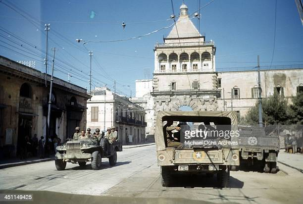 A view as Allied forces drive through town after the invasion of Sicily 5 days after winning the campaign called Operation Husky during the World War...