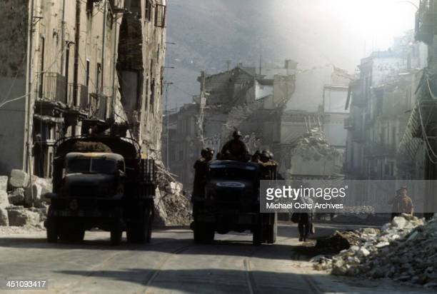 A view as Allied forces driving through town after the invasion of Sicily 5 days after winning the campaign called Operation Husky during the World...