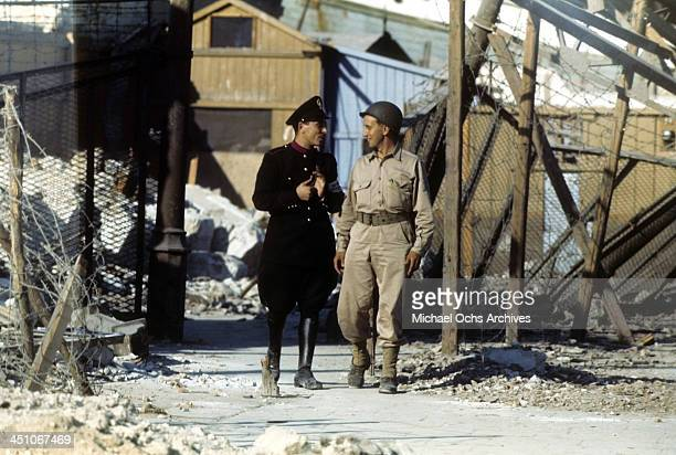 A view as Allied member greets a Sicilian 5 days after winning the campaign to invade Sicily called Operation Husky during the World War II in...