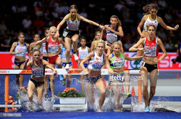 A view as athletes clear the water jump in the final of the Women's 3000m Steeplechase during day six of the 24th European Athletics Championships at...