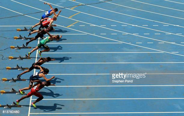 A view as athletes leave their starting blocks during day two of the IAAF U18 World Championships on July 13 2017 in Nairobi Kenya