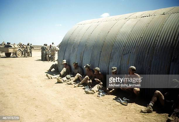 A view as crew members of the 44th Bombardment Group rest at the US Air Force Base in Benghazi Libya