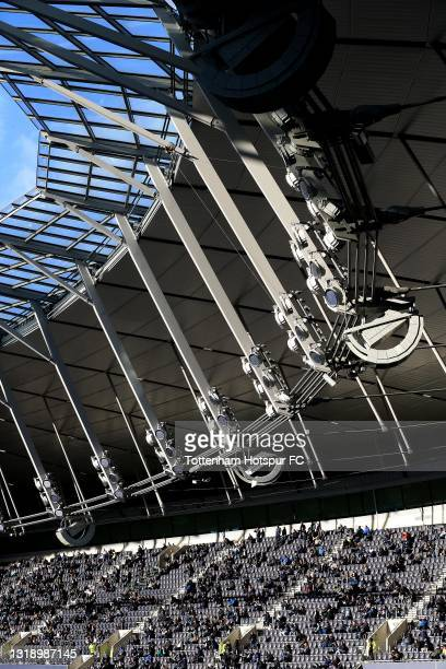 View as fans are seen in the stadium during the Premier League match between Tottenham Hotspur and Aston Villa at Tottenham Hotspur Stadium on May...